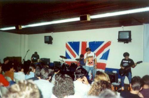 Meister, Dudu, Gaudêncio e Hiro no colégio Dom Bosco, 1991