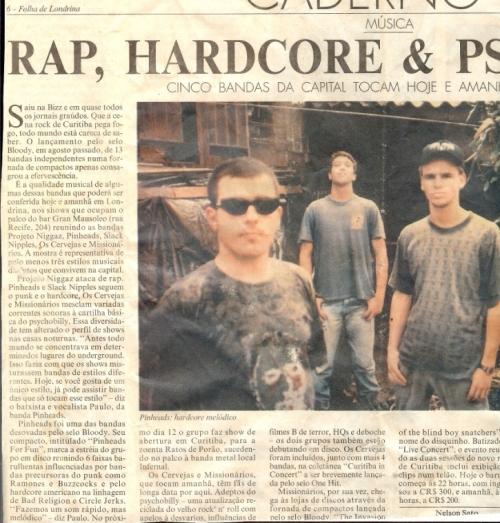 Recorte do jornal Folha de Londrina