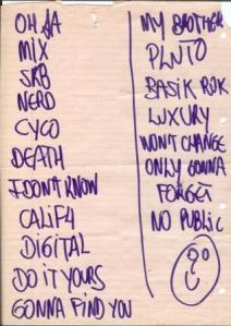 Set List do show no Mary Jane